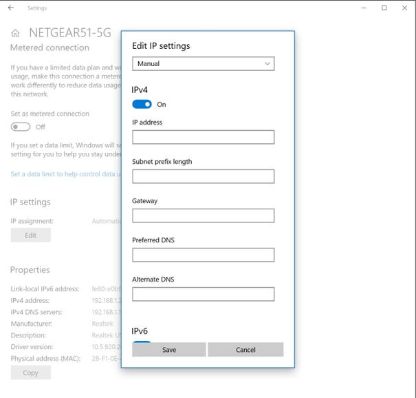 Pick an IP address and DNS settings for a wired adapter