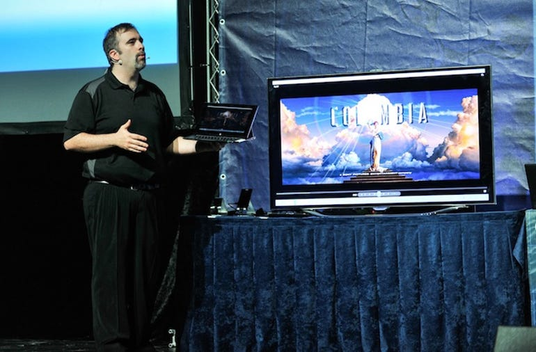 A Samsung smart TV with WIDI technology on display at Intel Israel's recent event