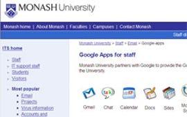 Monash Uni Google Apps screenshot