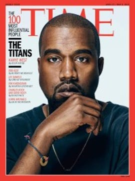 Time magazine cover featuring Kanye West