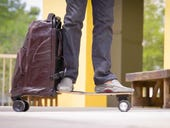 Movpak: A rolling backpack with an electric skateboard inside
