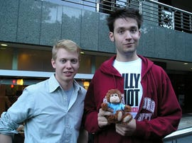Reddit founders Steve Huffman and Alexis Ohanian with Remember the Milk mascot