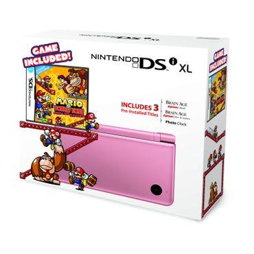 Nintendo DSi XL in Metallic Rose with Mario vs. Donkey Kong game. Image from Nintendo