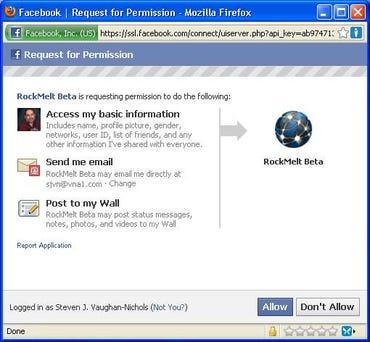 Just to get RockMelt's beta requires granting it Facebook account access.