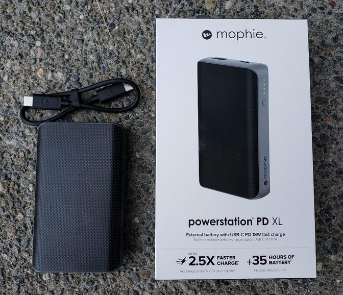 Mophie Powerstation PD XL retail package and contents