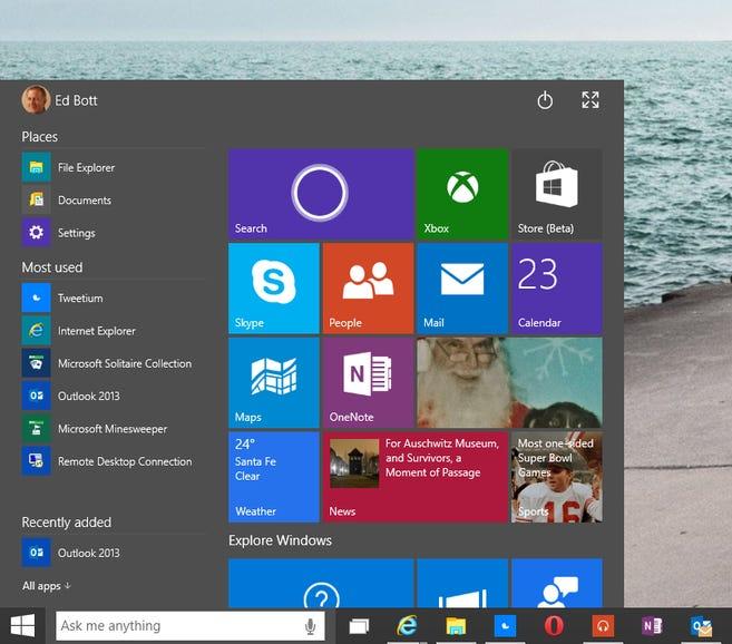 Zoom the Start menu to full screen