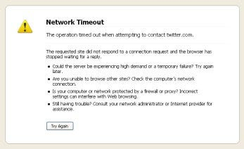 Twitter denial of service attack time out screen