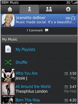 BBM Music lets users share 50 track playlists