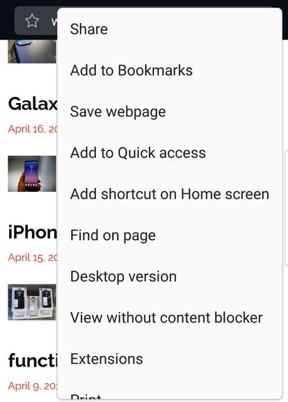 Various options in Samsung Internet