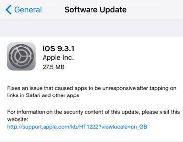 Apple releases iOS 9.3.1, fixes hyperlink crash bug