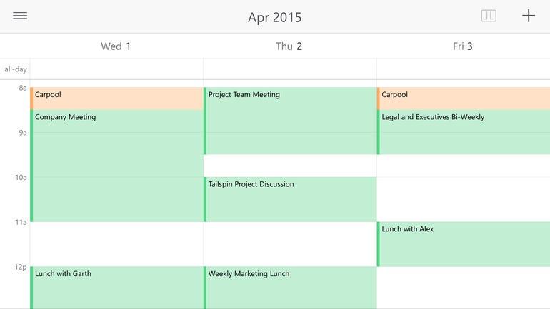 Three-day calendar view