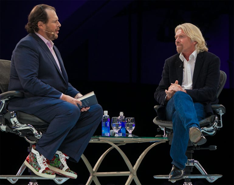 Marc Benioff ran long during conversation with Richard Branson -- two of the world's greatest salesmen engaging in a wide ranging conversation