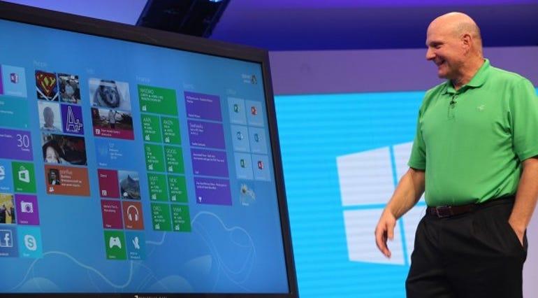 Microsoft boss Steve Ballmer with an 82in Perceptive Pixel screen running Windows 8