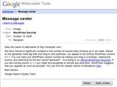 Google hackable site warning