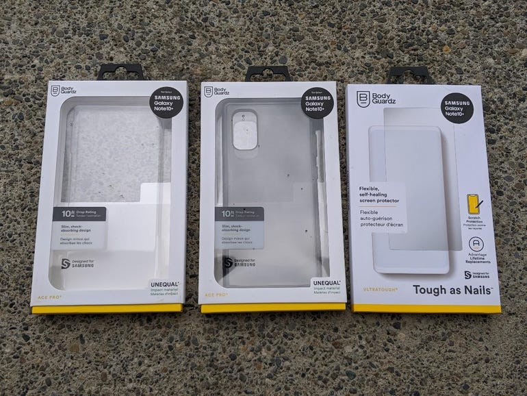 BodyGuardz Ace Pro cases and UltraTough screen protector for the Note 10 Plus