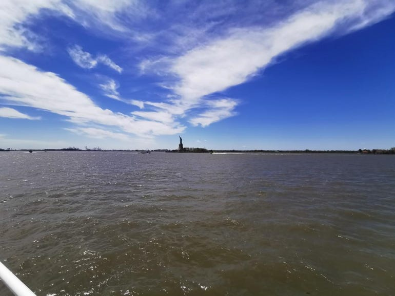Wide angle with the Statue of Liberty far away