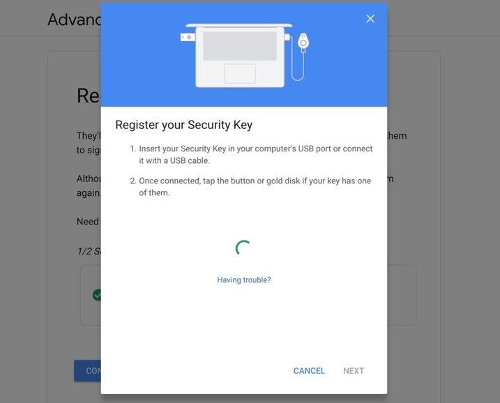 Registering the second key
