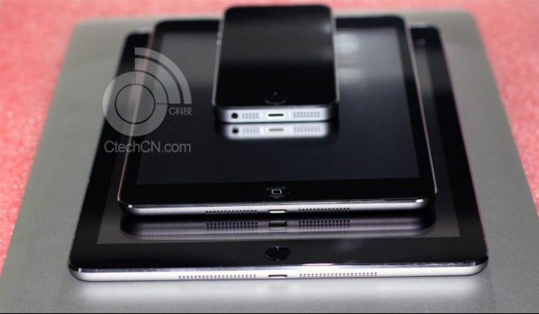 This purported leak claimes to show an iPad 5 with Touch ID, but the iPad mini 2 without. Jason O'Grady
