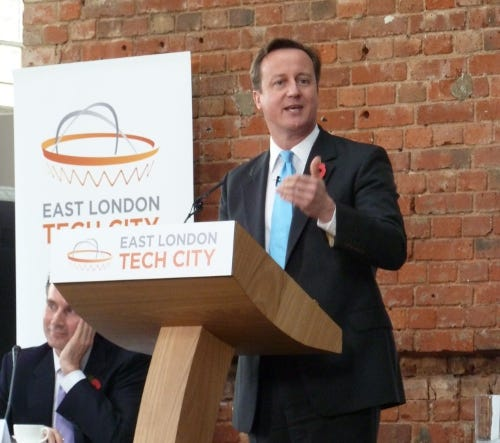 Prime Minister David Cameron wants East London Tech City to rival Silicon Valley