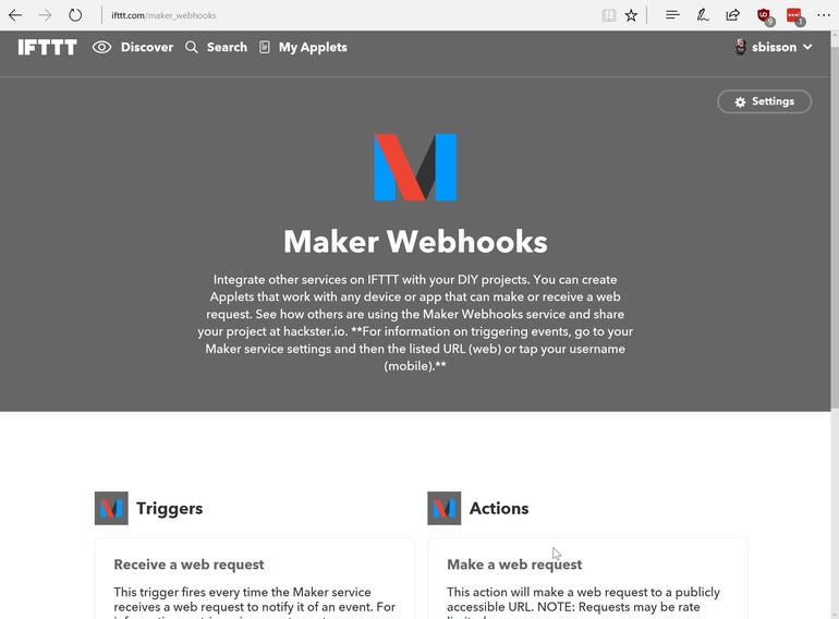 IFTTT's Maker Webhooks are a way of connecting devices and services that aren't part of the IFTTT API ecosystem.
