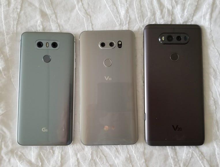 LG G6, LG V30, and LG V20