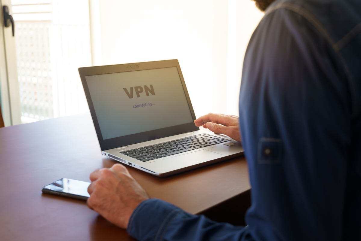 Man working from home using a VPN