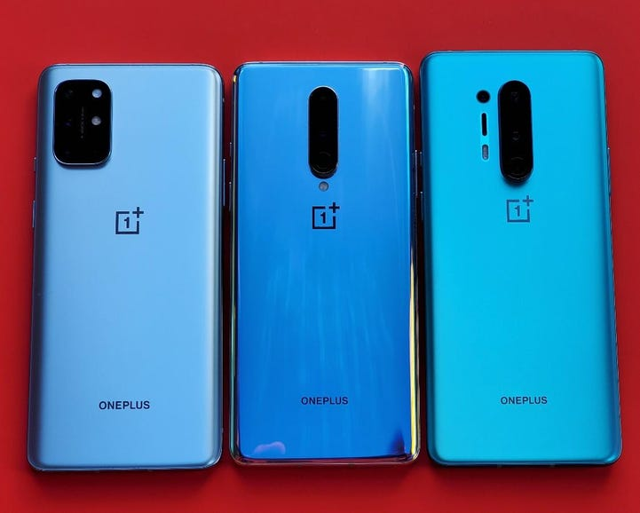 OnePlus 7T, 8, and 8 Pro