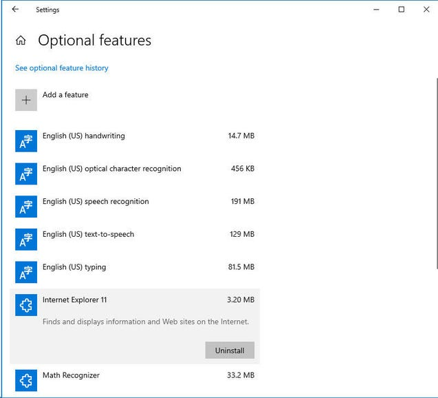 Internet Explorer 11 is one of several 'optional features'