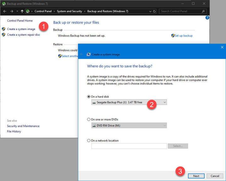 Step 14: Configure backup options and create an image backup