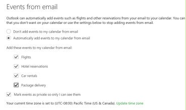 Outlook offers to create calendar items based on email