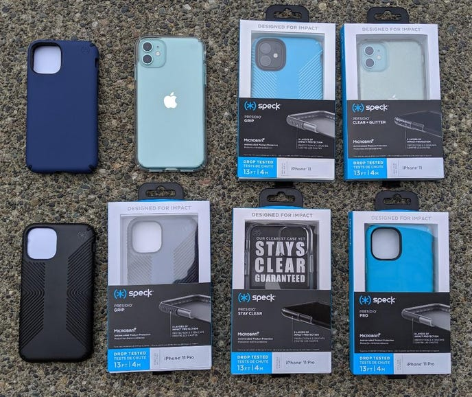 Sampling of Speck cases for the iPhone 11 and iPhone 11 Pro
