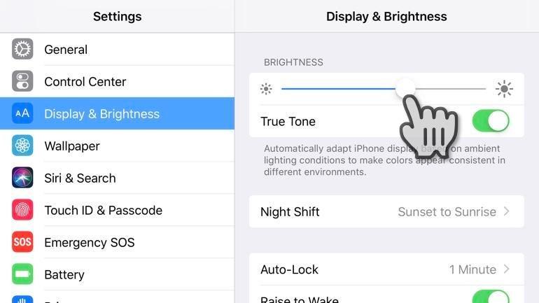 Change iPhone screen brightness