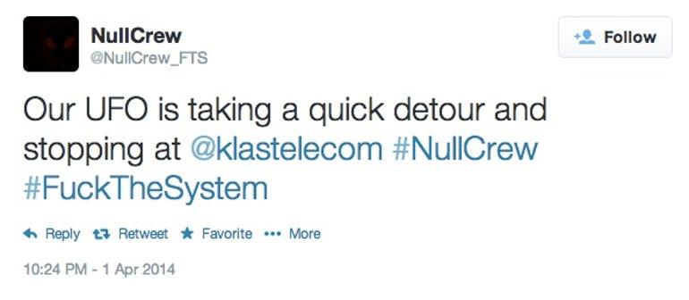 NullCrew hacked Klas Telecom
