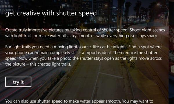 Camera Pro tutorial, shutter speed