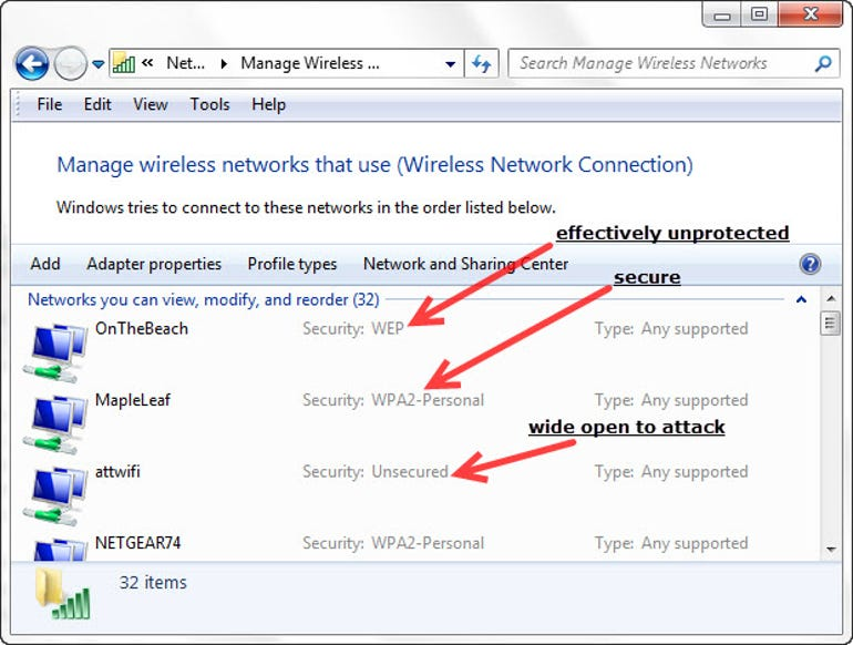 Wireless networks under Windows and their security