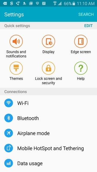 Samsung Galaxy S6 Edge settings
