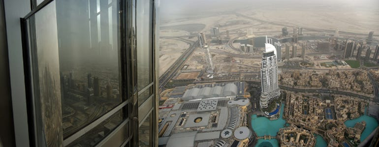 The view from the world's tallest building, the Burj Khalifa. When it comes to architecture and tech, Dubai thinks big.