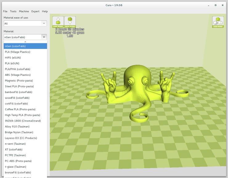 Cura 3D printing slicing program