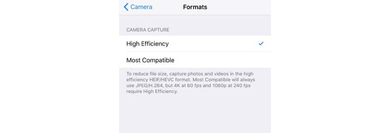 Save space on photos and videos