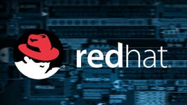 RedHat Logo with Blue Background