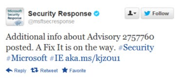 Microsoft announces fix for zero day vulnerability on Twitter