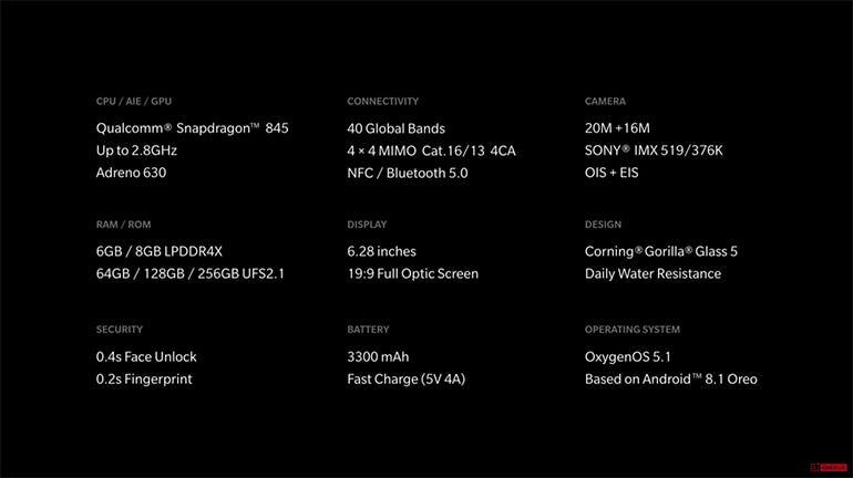 OnePlus 6: specs