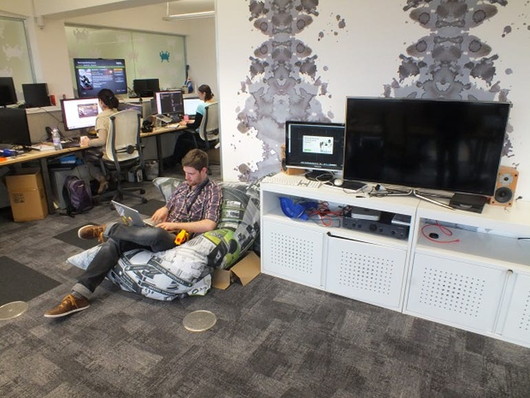 The bean bags make a cozy retreat for developers