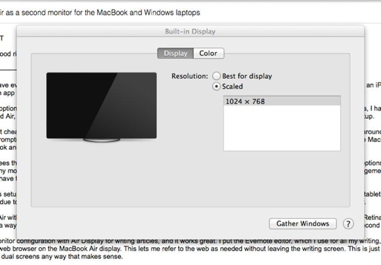 OS X display settings snapped on iPad