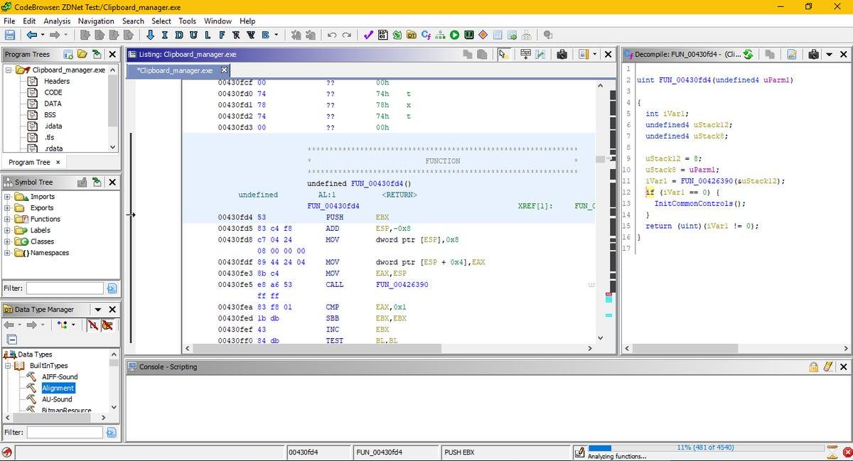 Ghidra code browser