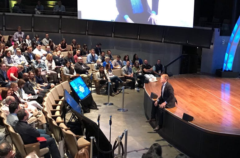 Cisco chairman John Chambers at Sprinklr's Digital Transformation Summit in Nashville in 2017