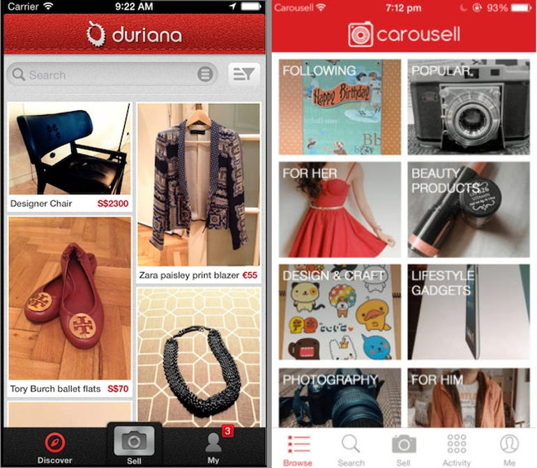 Duriana and Carousell's apps, side-by-side