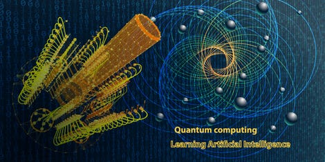 Quantum computer. Abstract physics  background concept with qubit. Learning artificial intelligence element. Cryptography infographic vector. Big data algorithms visualization.