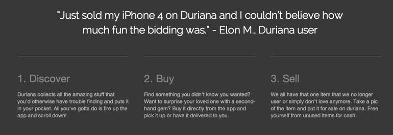 The lower half of Duriana's website