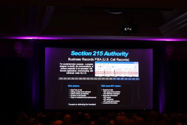 NSA Director Black Hat keynote slide: Section 215